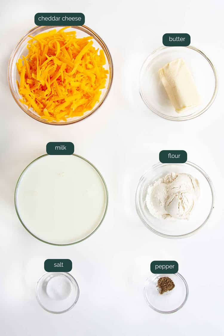 overhead shot of ingredients needed to make cheese sauce