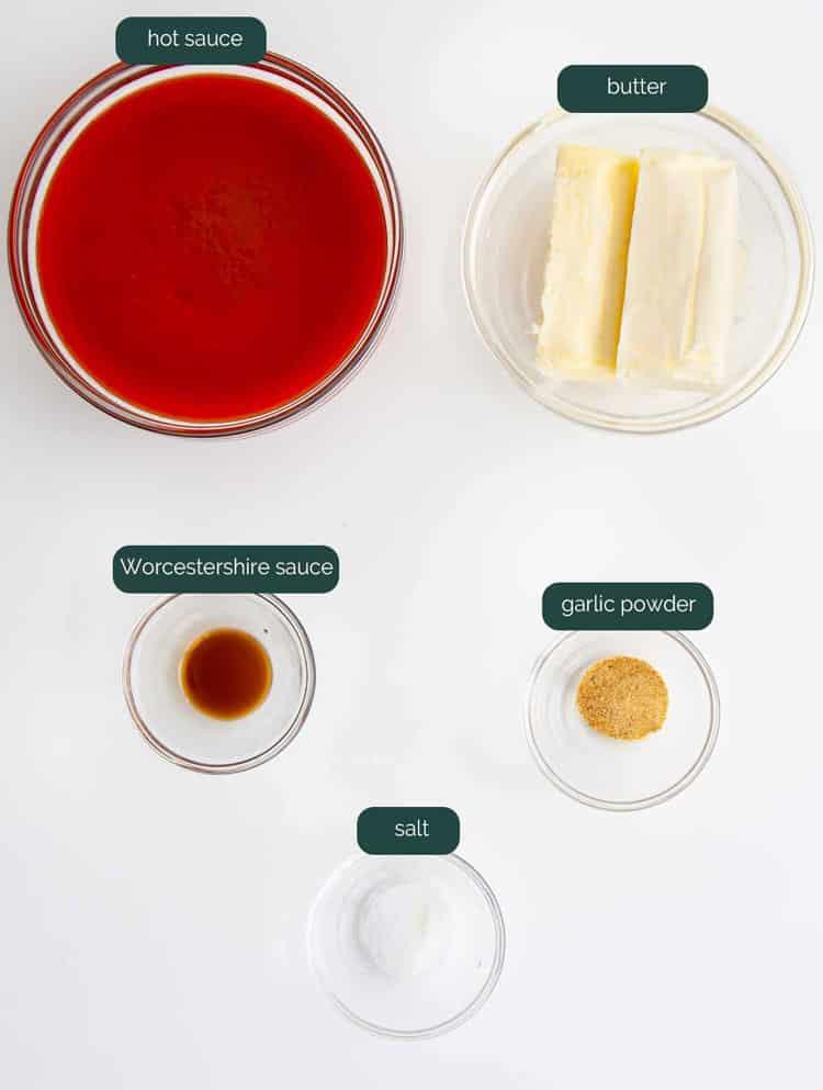 overhead shot of ingredients needed to make buffalo sauce