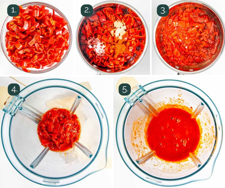 process shots showing how to make hot sauce