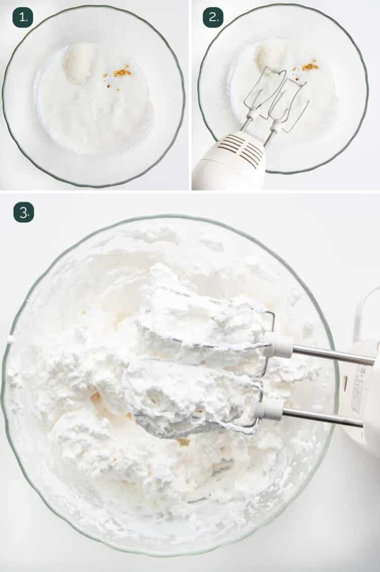 process shots showing how to make whipped cream