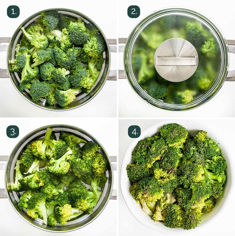 process shots showing how to steam broccoli