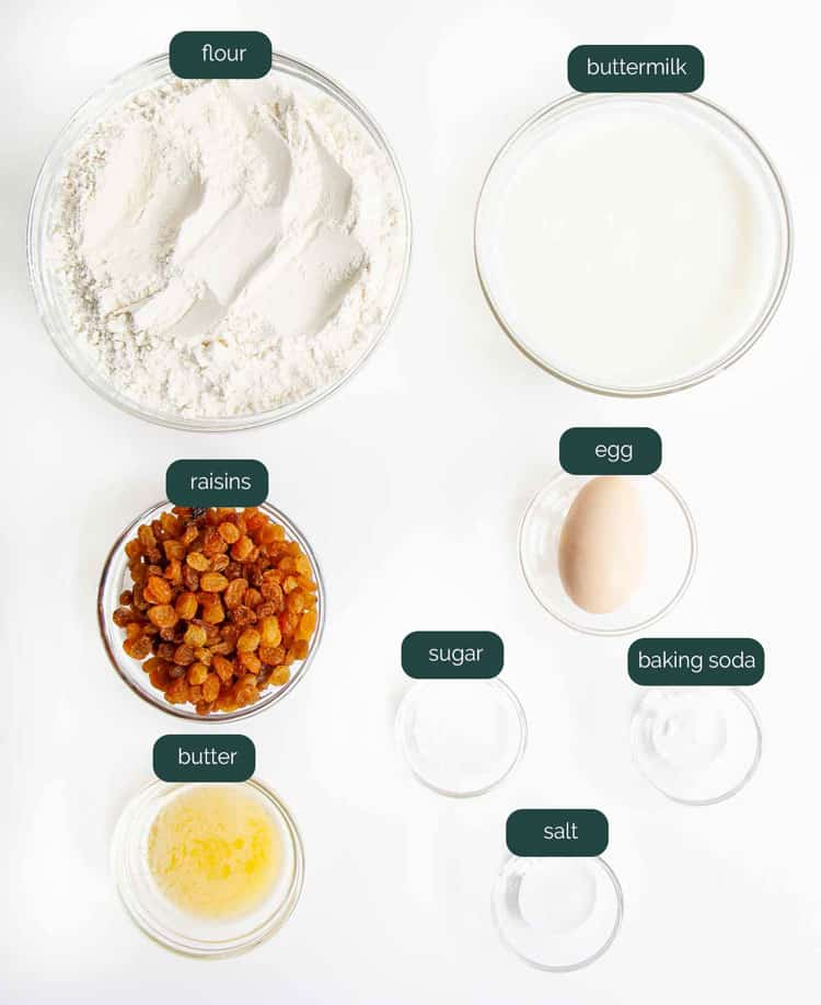 overhead shot of ingredients needed to make soda bread