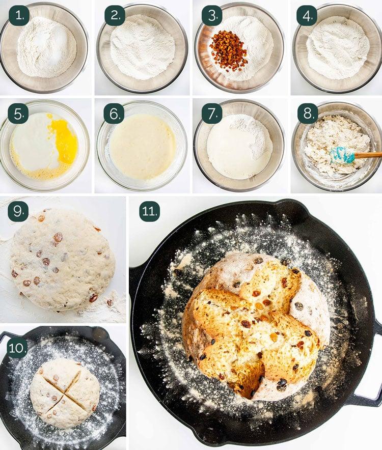 process shots showing how to make irish soda bread