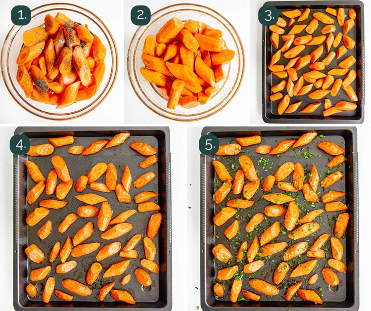 process shots showing how to make oven roasted carrots
