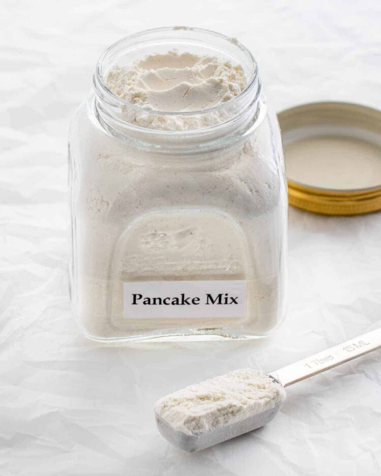 a jar full of homemade pancake mix