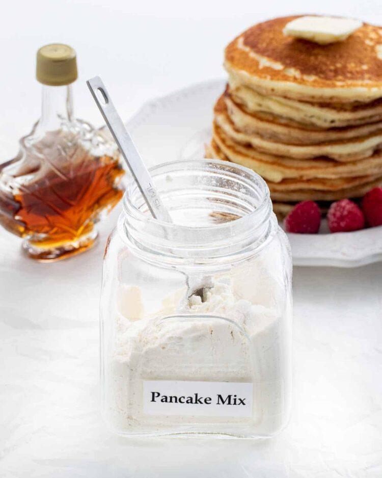 a jar half filled with homemade pancake mix