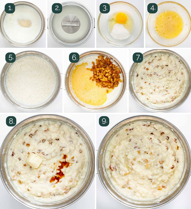 process shots showing how to make rice pudding