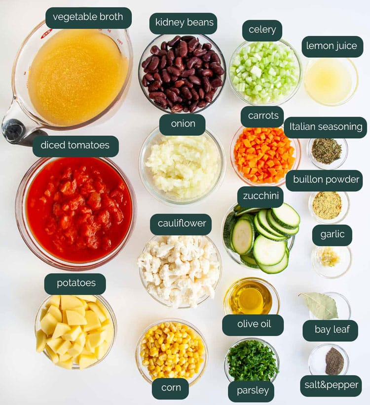 overhead shot of all ingredients needed to make vegetable soup