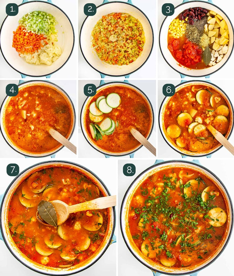process shots showing how to make vegetable soup