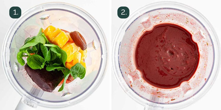 process shots showing how to make an açai smoothie