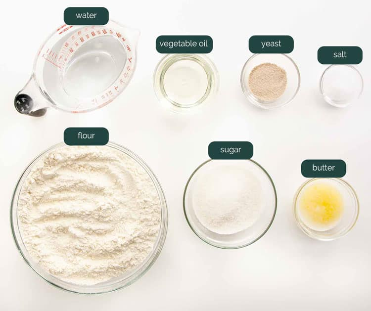 overhead shot of all the ingredients needed to make amish white bread