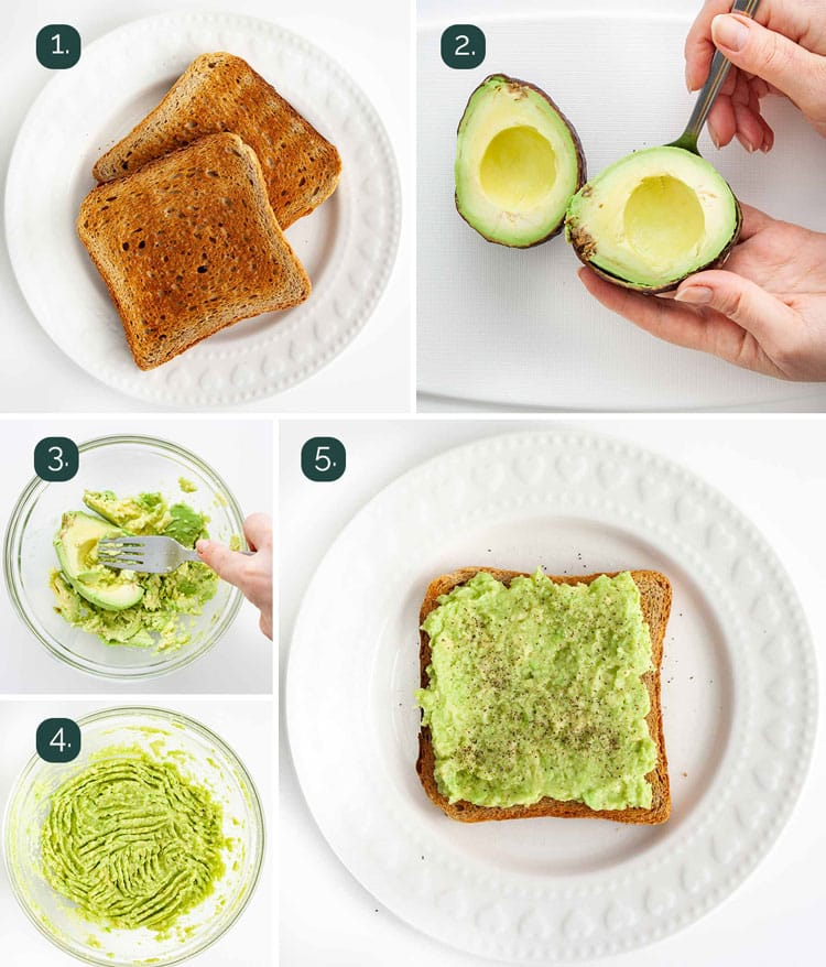 process shots showing how to make avocado toast
