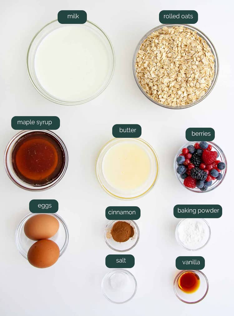 overhead shot of ingredients needed to make baked oatmeal
