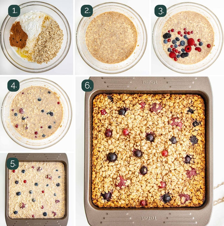 process shots showing how to make baked oatmeal