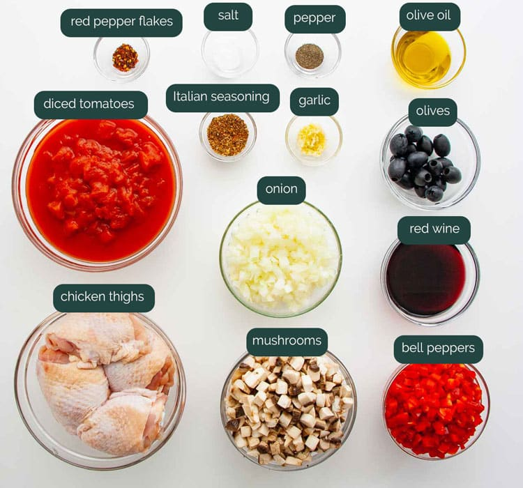 overhead shot of all ingredients needed to make chicken cacciatore