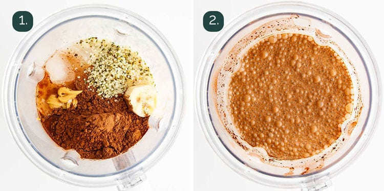 process shots showing how to make chocolate smoothies