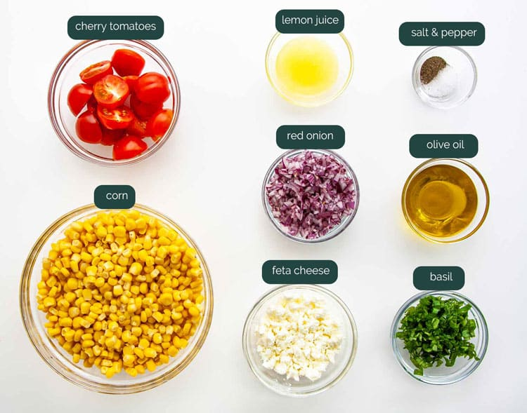overhead shot of all the ingredients needed to make corn salad