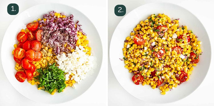 process shots showing how to make corn salad