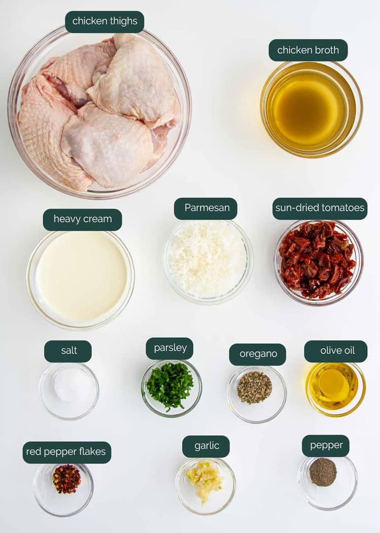 overhead shot of all the ingredients needed to make marry me chicken