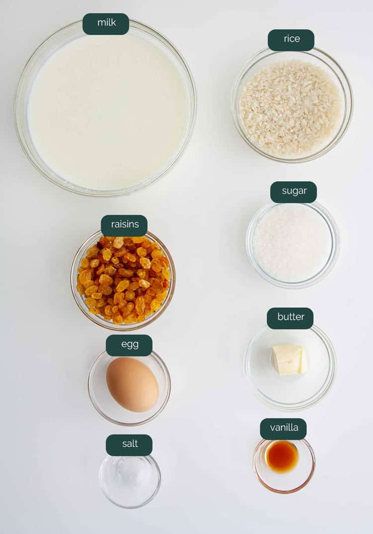 overhead shot of ingredients needed to make rice pudding