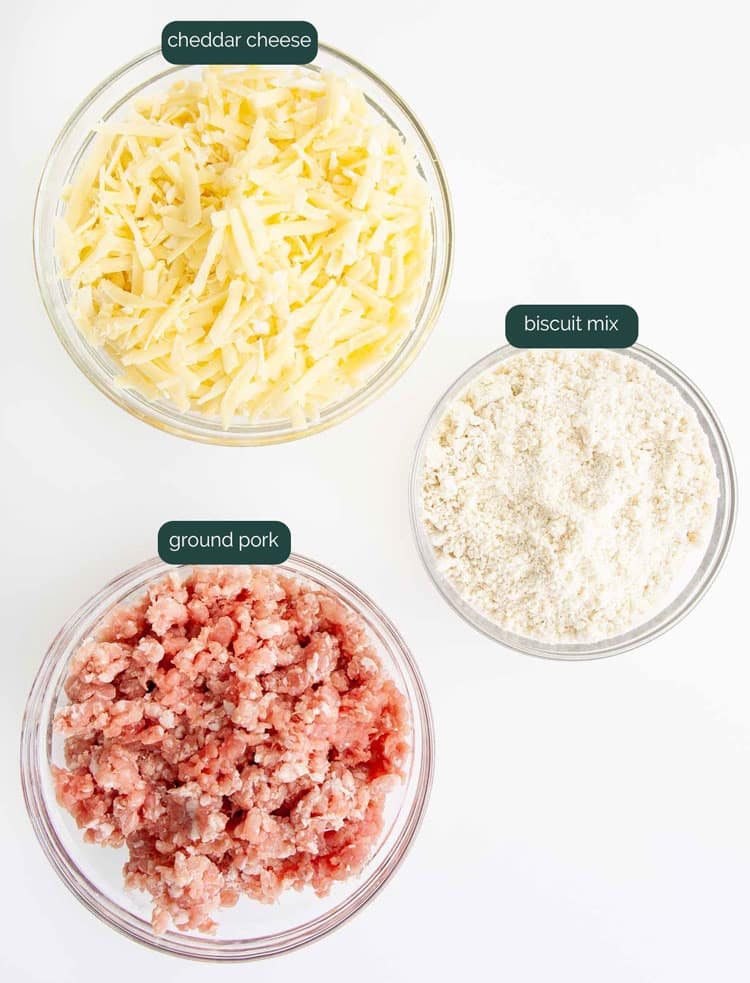 overhead shot of all the ingredients needed to make sausage balls