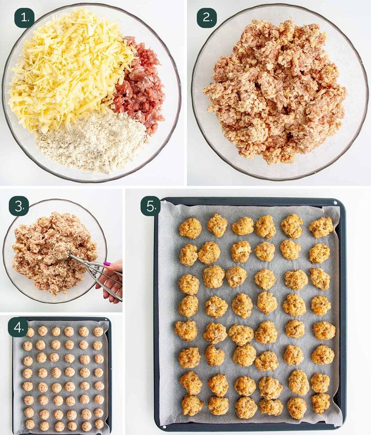 process shots showing how to make sausage balls