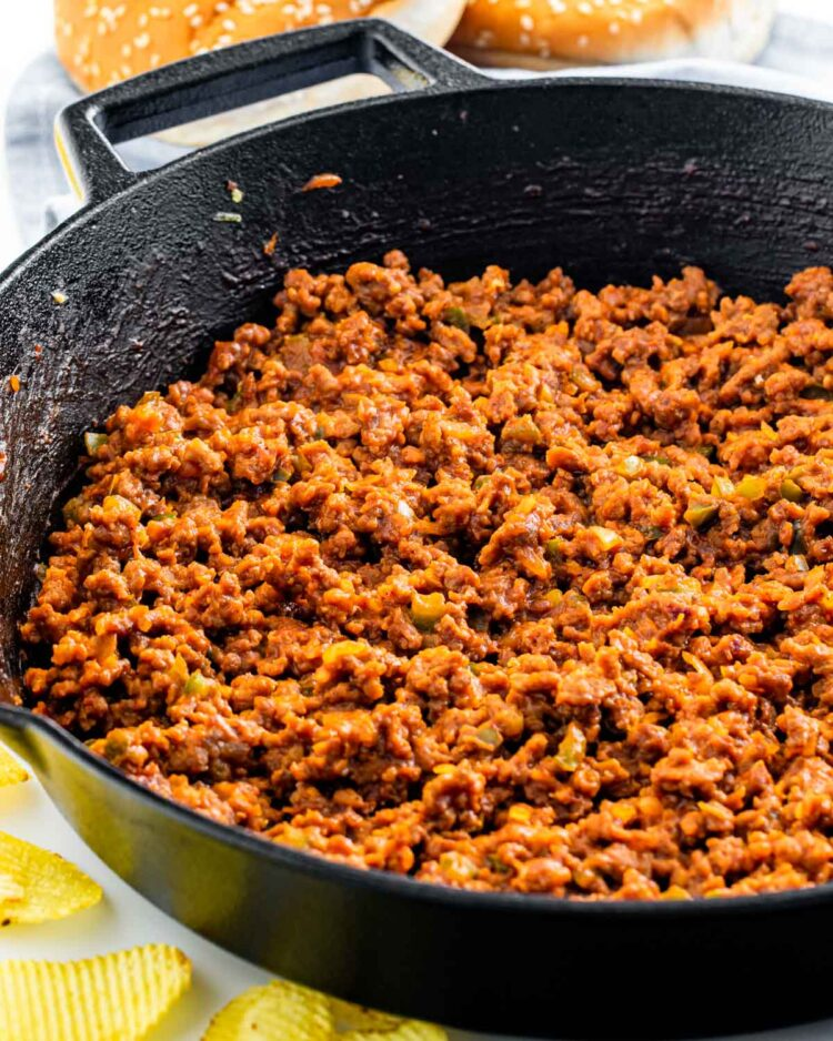 sloppy joe meat mixture in a black skillet