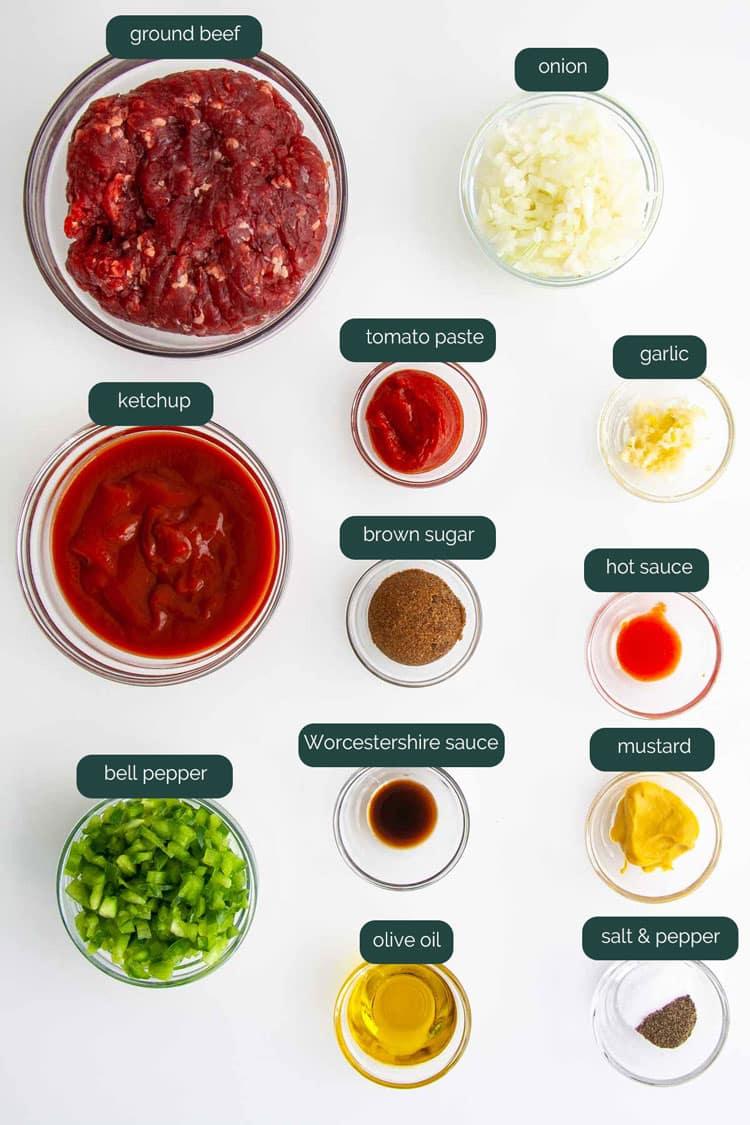 overhead shot of ingredients needed to make sloppy joes