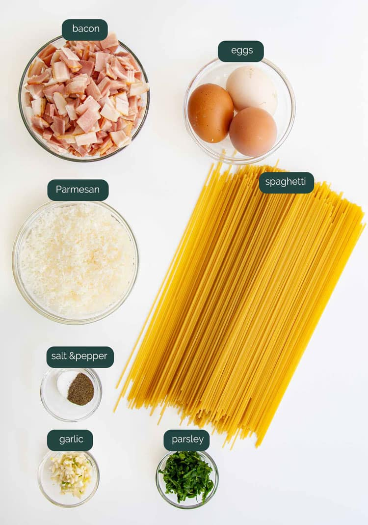 overhead shot of ingredients needed for making spaghetti carbonara