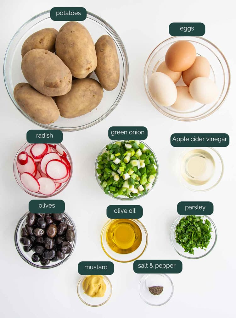 overhead shot of ingredients needed to make spring potato salad