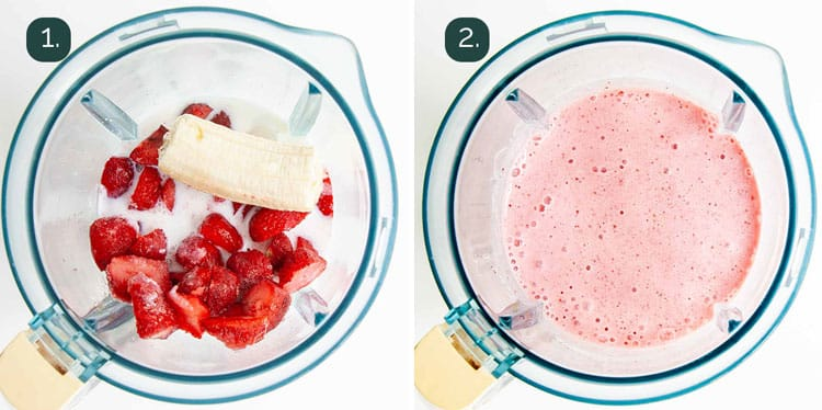 process shots showing how to make strawberry banana smoothie