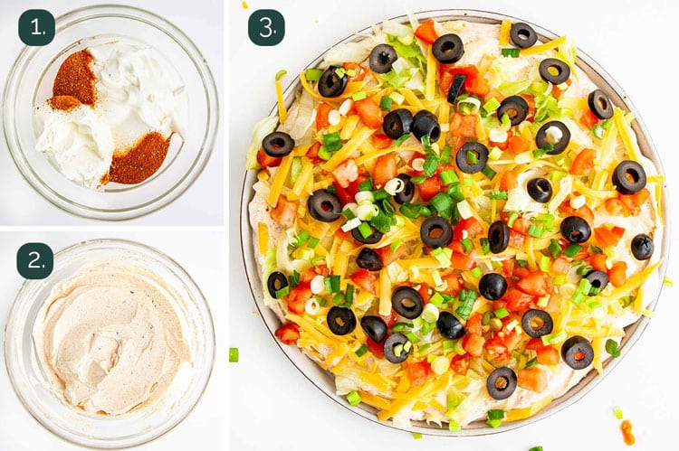 process shots showing how to make taco dip