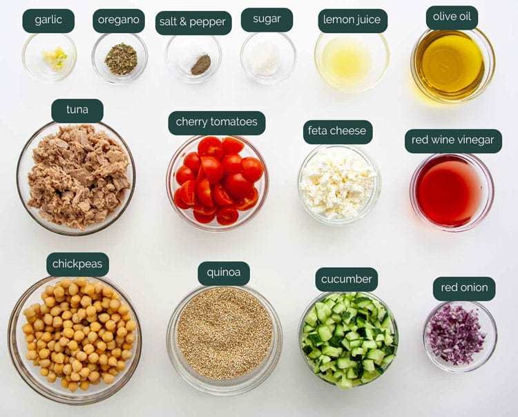 overhead shot of all the ingredients needed to make tuna quinoa salad