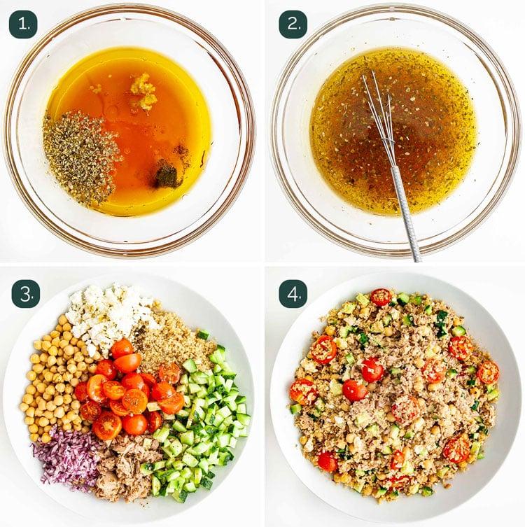 process shots showing how to make tuna quinoa salad