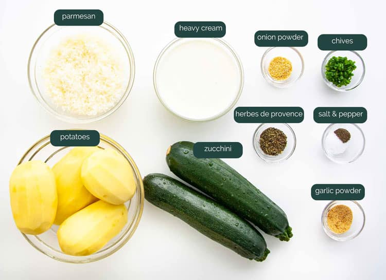 overhead shot of all the ingredients needed to make zucchini potato bake