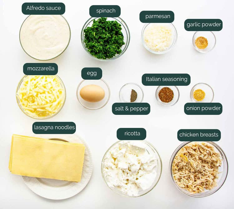 overhead shot of all the ingredients needed to make lasagna roll ups
