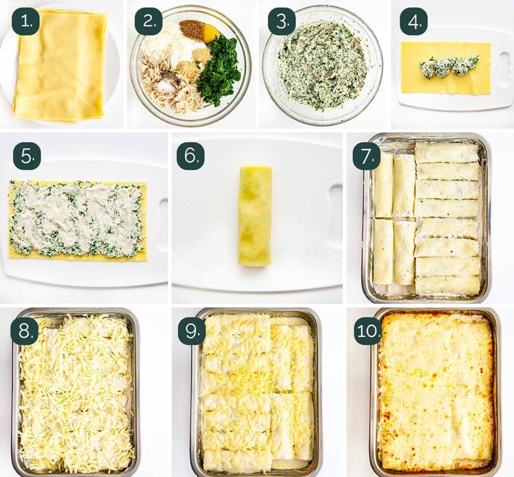 process shots showing how to make lasagna roll ups