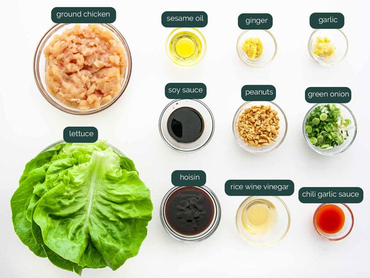 overhead shot of all the ingredients needed to make asian lettuce wraps