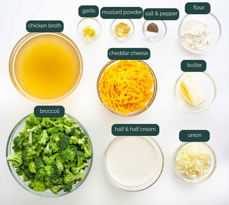 overhead shot of all the ingredients needed to make broccoli cheese soup