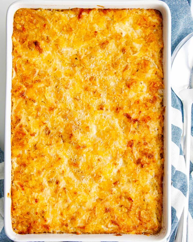 overhead shot of cheesy potato casserole fresh out of the oven