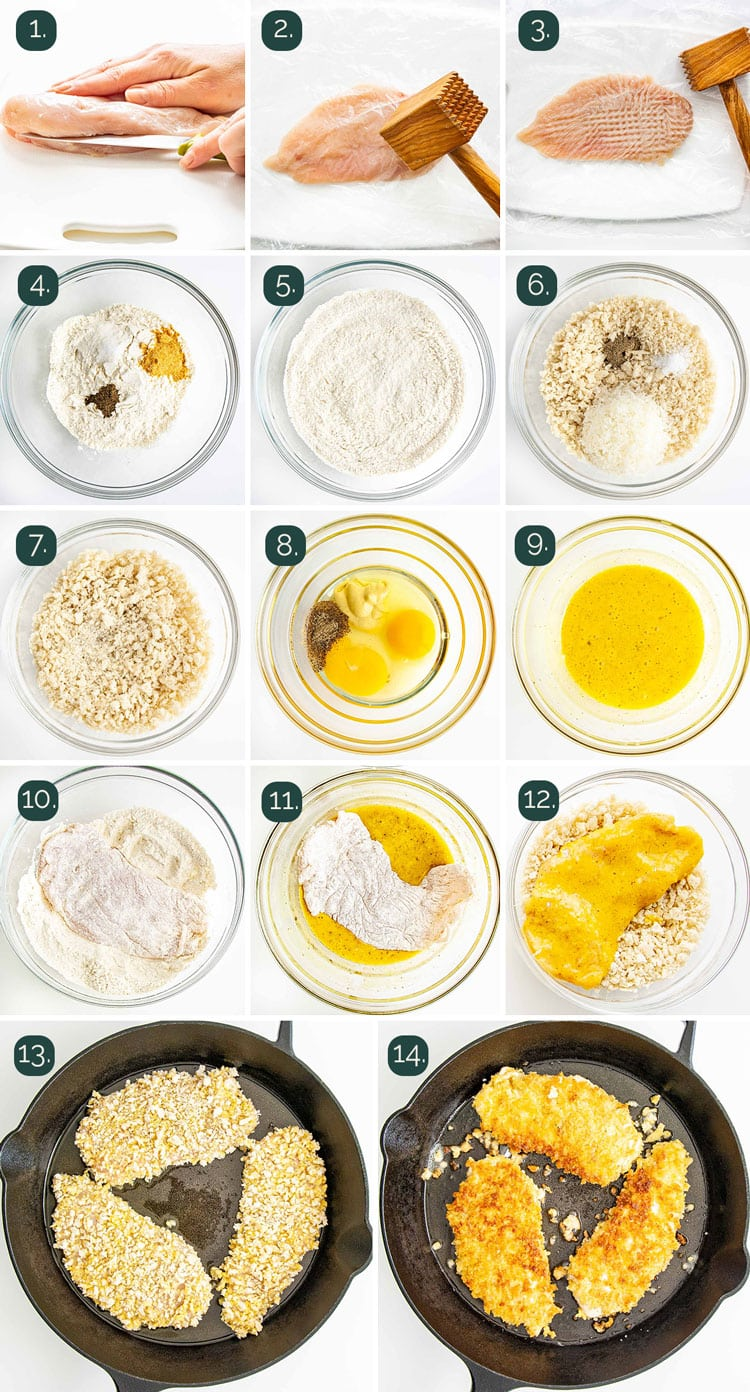 detailed process shots showing how to make crispy chicken cutlets
