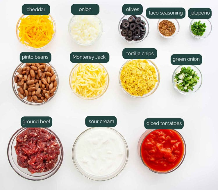 overhead shot of all the ingredients needed to make a mexican casserole