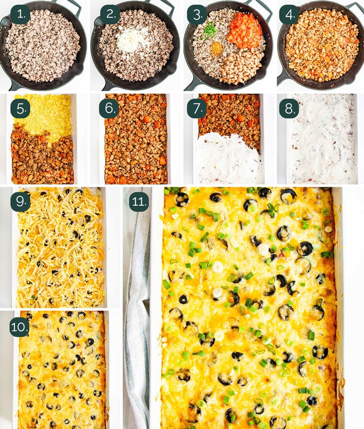 process shots showing how to make a  mexican casserole from scratch