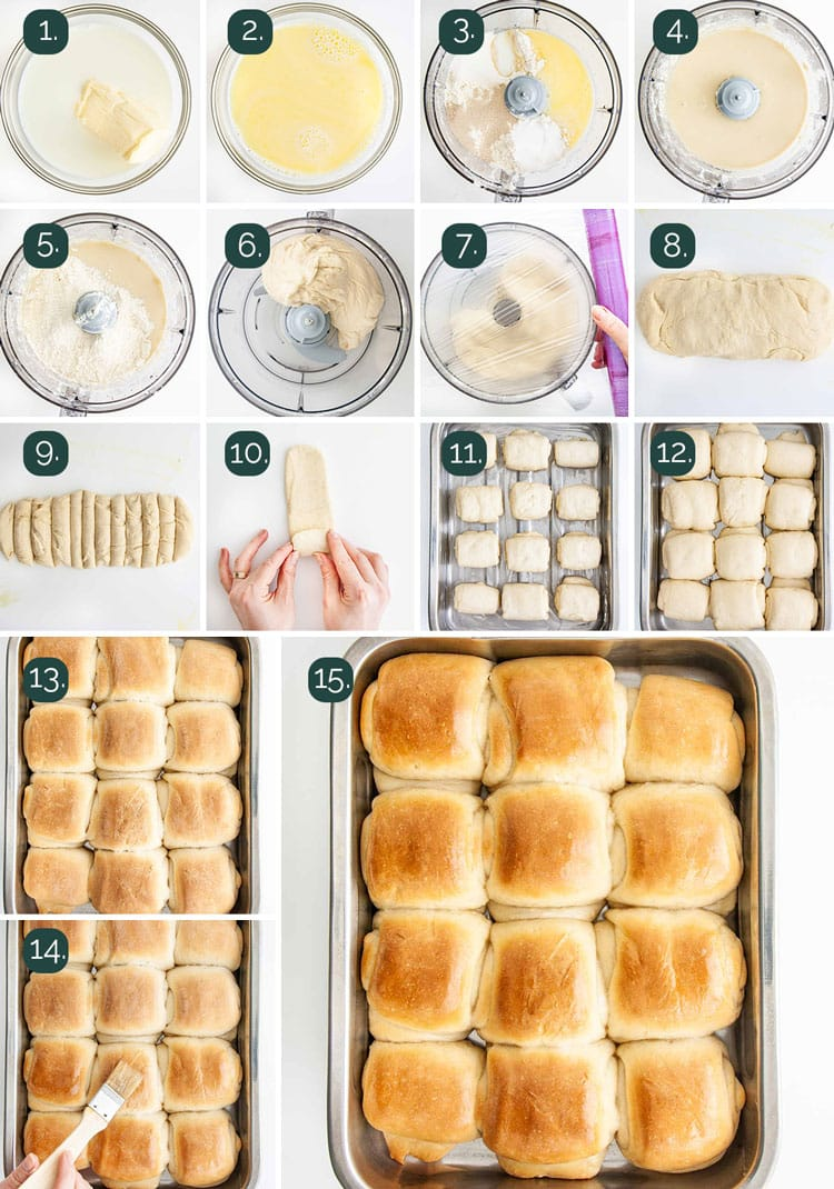 detailed process shots showing how to make dinner rolls from scratch