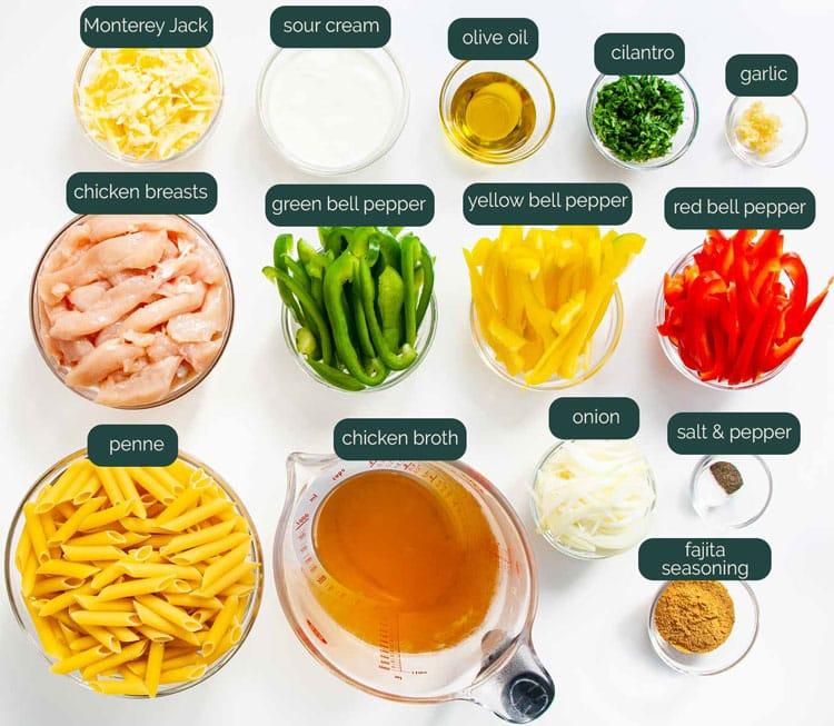 overhead shot of all the ingredients needed to make chicken fajita pasta