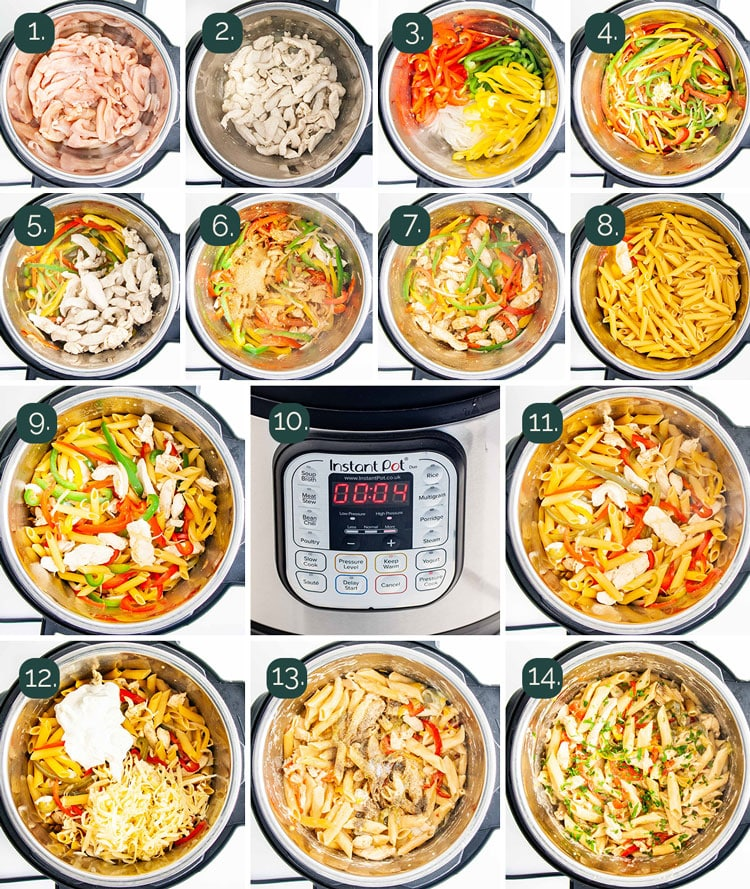 detailed process shots showing how to make chicken fajita pasta in the instant pot