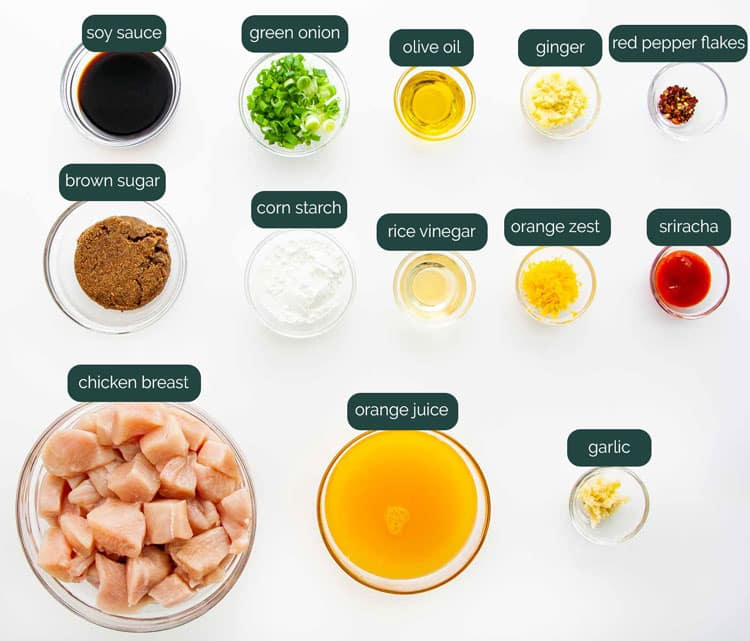 overhead shot of all the ingredients needed to make orange chicken in the instant pot