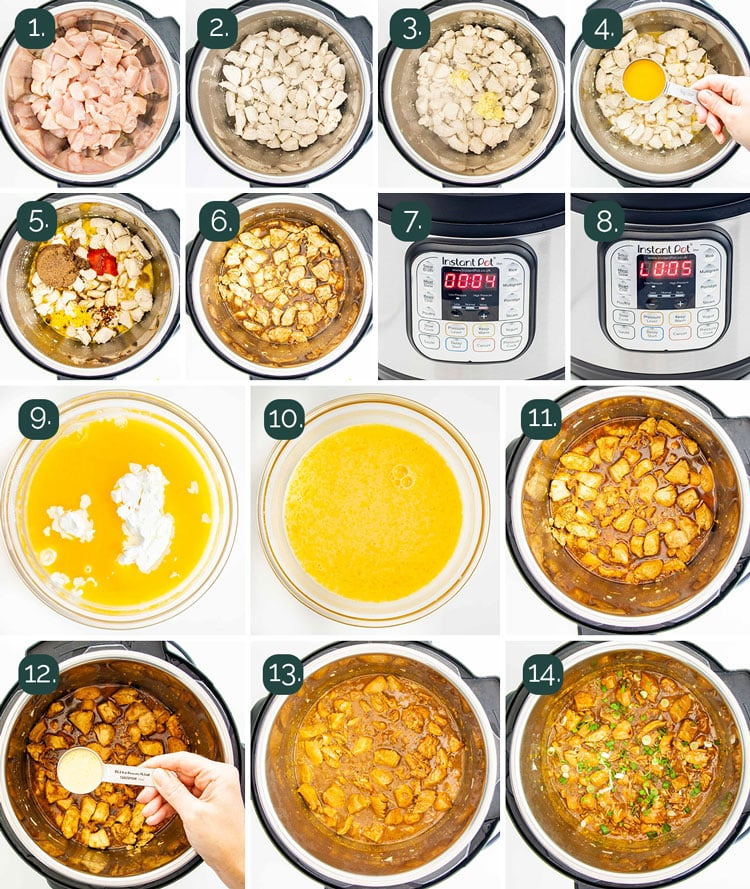 detailed process shots showing how to make orange chicken in the instant pot