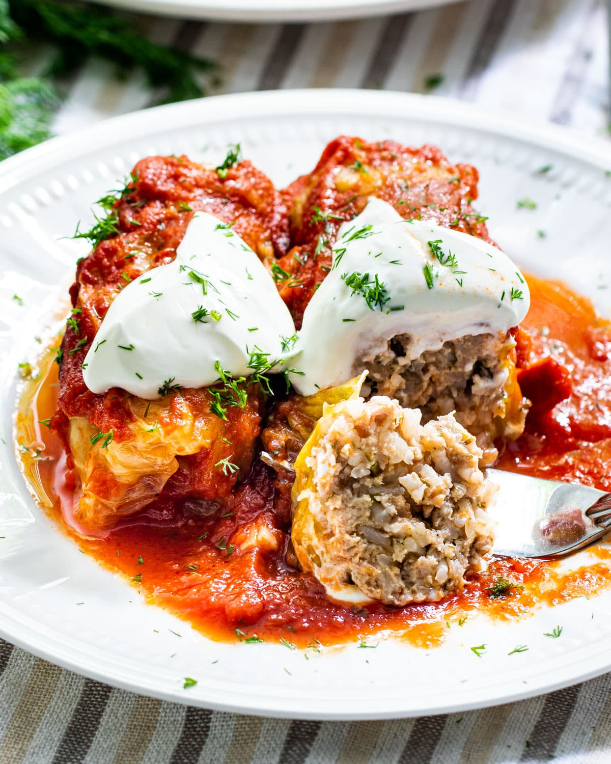 a white plate with two stuffed cabbage rolls topped with sour cream and one bite taken out of a roll