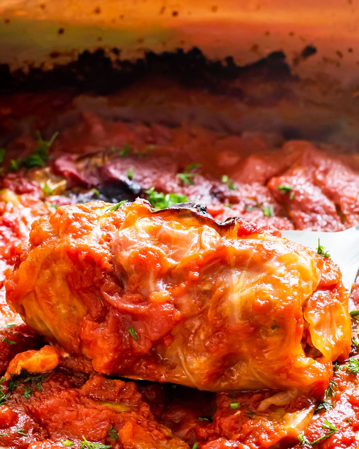 a stuffed cabbage roll in a pot full of them
